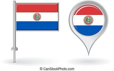 goupille carte, flag., vecteur, paraguayen, indicateur, ...