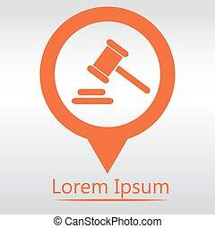 goupille carte, hammer., légal, juge, marteau, icon., droit & loi, martelez icône