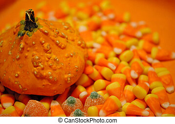 gourd and Halloween candy