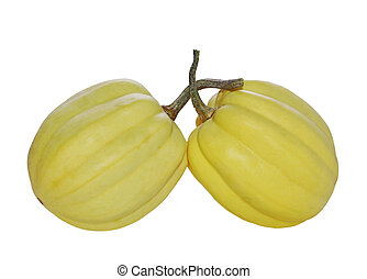 Gourds - Two yellow ornamental pumpkin gourds isolated on ...