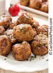 Gourment balls - Selective focus on the front gourmet balls