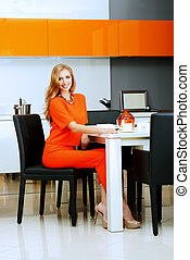 gourment - Beautiful young woman having a dinner at a...