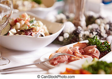 Gourment meat meals on banquete. - Traditional french meals...