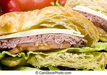 gourment roast beef sandwich on croissant