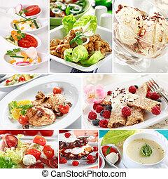 gourmet, alimento, colagem