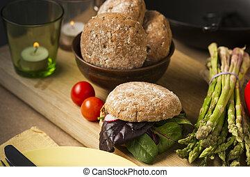 gourmet, alimento saudável, com, pão, e, veggies