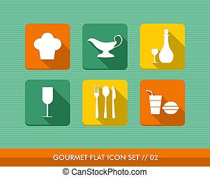 gourmet, apartamento, set., ícones