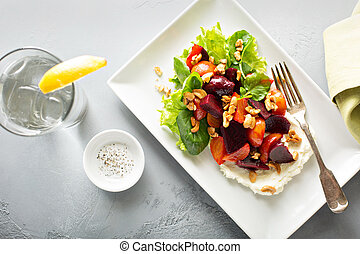 Gourmet beet salad with cheese and lettuce