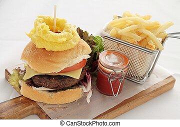 gourmet burger plated meal