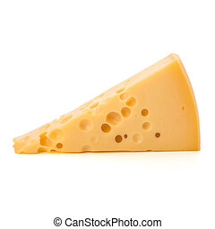 Gourmet cheese piece isolated on white background