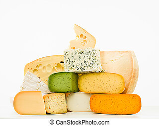 gourmet cheeses mixed group on white background