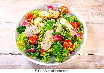 Gourmet Chicken Garden Salad on a White Plate