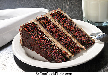 Gourmet chocolate cake with milk