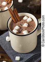 gourmet, chocolate quente, leite