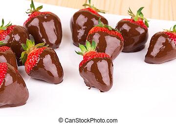 gourmet, couvert, fraises, chocolat
