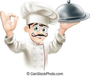gourmet, cozinheiro, ilustração
