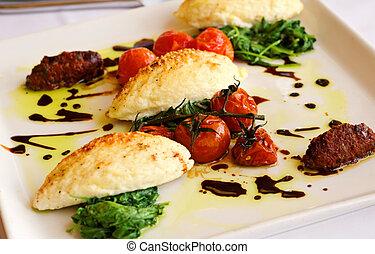 gourmet, dîner, gnocchi, italien