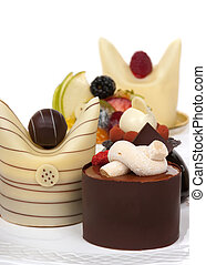 Gourmet French desserts with chocolate and fruit