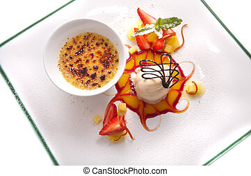 Gourmet desserts on a plate isolated