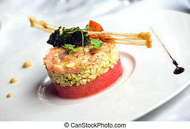Gourmet dish - Delicious gourmet food on dish