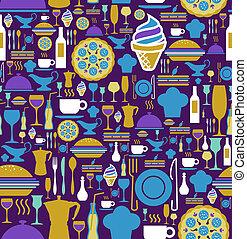 gourmet, ensemble, pattern., seamless, icône
