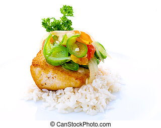 Gourmet Fish Fillet with rice on white background