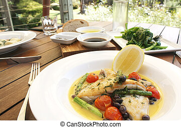 Gourmet Food Meal with Seafood and Vegetables