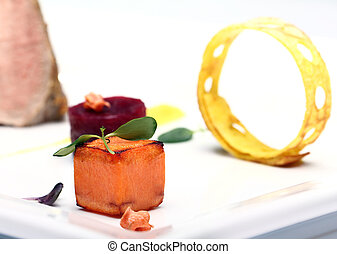 Gourmet food on the table - Close up of gourmet food on the ...