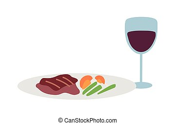 Gourmet food plate and wine glass on white background
