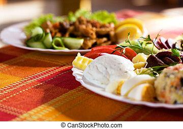 Gourmet food shot with restaurant background. Proper for...
