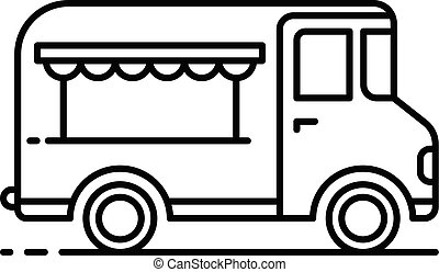 Gourmet food truck icon, outline style