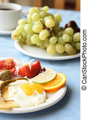 gourmet food with fruits vegetables and egg