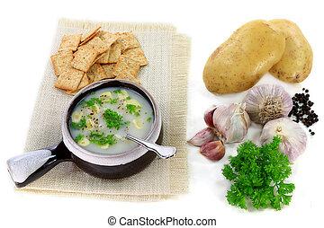 Gourmet Garlic and Potatoes cream soup