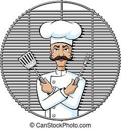 gourmet, gril, chef cuistot
