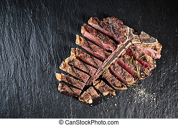 Gourmet grilled and sliced porterhouse steak
