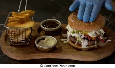 gourmet, hamburger., chef cuistot, confection, mains