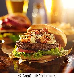 gourmet hamburger with bleu cheese and bacon