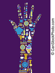 Human hand shape made with gourmet icon set on violet background. Vector file available.