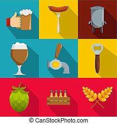 Gourmet icons set, flat style