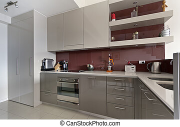 gourmet, intérieur, moderne, cuisine