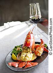 gourmet, jantar, lagosta, restaurante