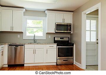 Stål, klar, mure, rød, hjørne, køleskab, køkken. Stål,... stock ...