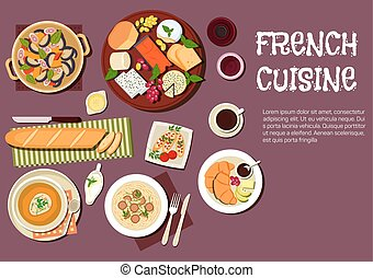 Gourmet lunch of french cuisine flat icon