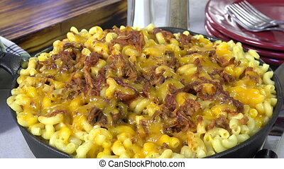 Gourmet Mac and Cheese with Beef - Skillet of macaroni and...