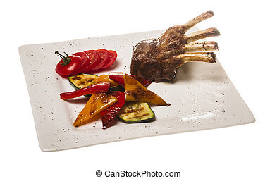 Gourmet Main Entree Course Grilled Lamb steak