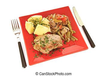 Gourmet meal - Colorful presentation of gourmet food, ...