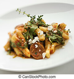 Gourmet meal. - Still life of gourmet pasta meal with ...