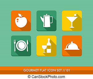 Gourmet menu flat icons set.