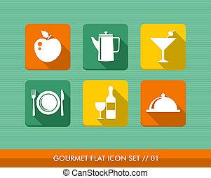 gourmet, menu, set., apartamento, ícones