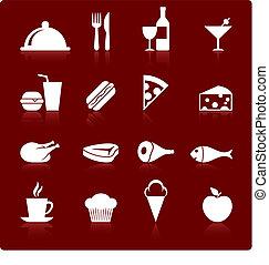 gourmet, nourriture, icône, ensemble